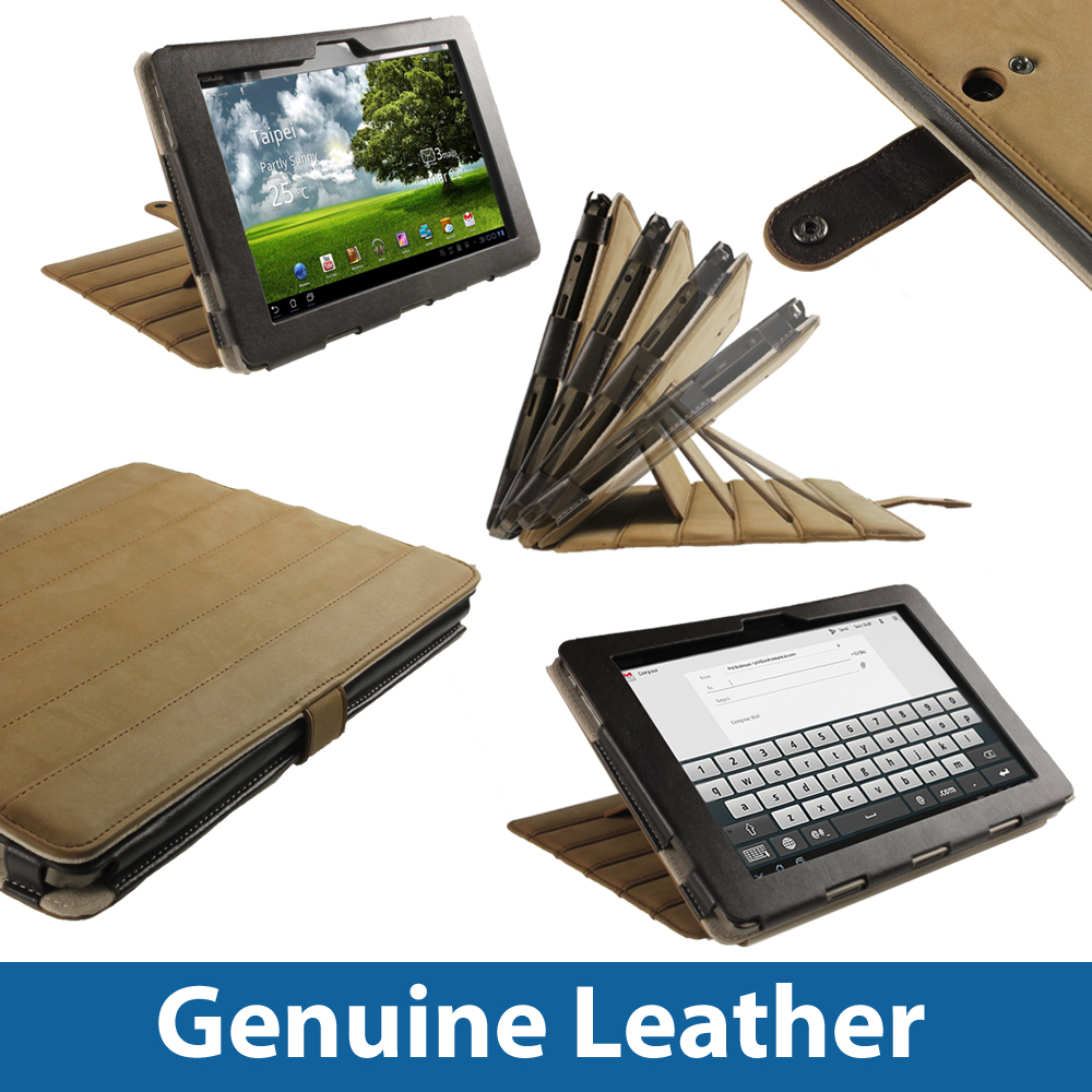 Brown Leather Case Cover for Asus Eee Pad Transformer TF101 10.1 Android Tablet Enlarged Preview